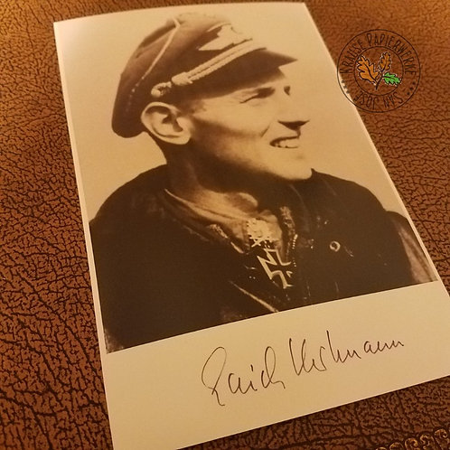 Erich Hartmann - fighter ace of all times from World War 2 German Luftwaffe - signed picture (autographed photo)