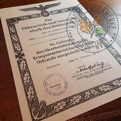 German (Third Reich) Hero's Death Certificate (Kriegsmarine Sterbeurkunde)
