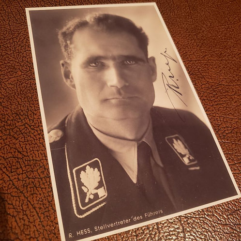 Signed photo of SS-Gruppenführer and Hitler's deputy Rudolf Hess in black SS uniform. Stellvertreter des Führers Rudolf Heß.