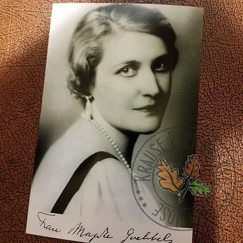 Magda Goebbels - signed photograph (autographed picture) of wife of propaganda minister of the Third Reich - Joseph Goebbels