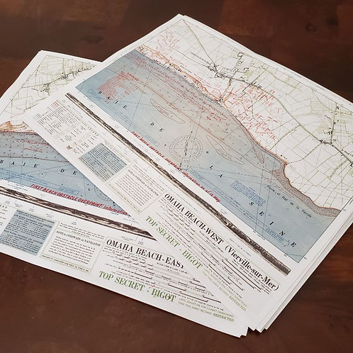 Set of 2 Omaha Beach allied invasion maps - West and East from D-Day landing, 1944. Top secret (code BIGOT).