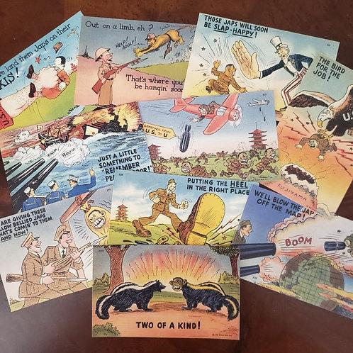 "Full series of 10 racist American anti-Japanese propaganda postcards from World War 2.  Tichnor, Boston - ""Jap Comics""."