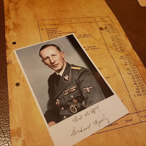 Wannsee Conference Notes - aged page - listing number of Jews per European country. With  signed photo of Reinhard Heydrich.