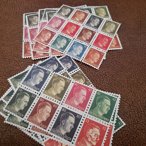 Adolf Hitler letter/postcard stamps - full series in rainbow colors.
