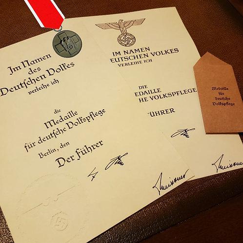 Award certificate / citation / document for Social Welfare Medal (Volkspflege-Medaille Urkunde)