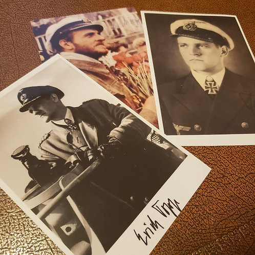 Erich Topp - the third most successful of German U-Boat commanders of World War II. Three signed photos