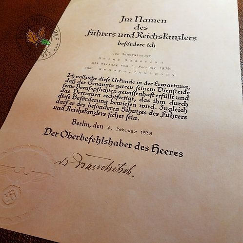Wehrmacht/Heer promotion certificate for officer - customizable reproduction for officer from Krause Papierwerke