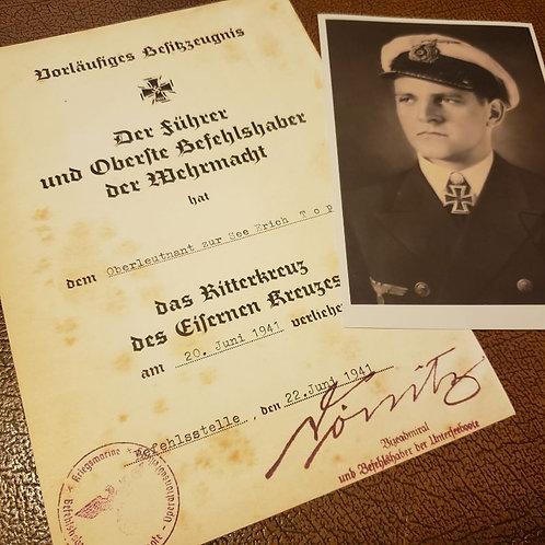 Erich Topp - Knight's Cross of Iron Cross (Ritterkreuz) award certificate/citation/document. With autographed photo.