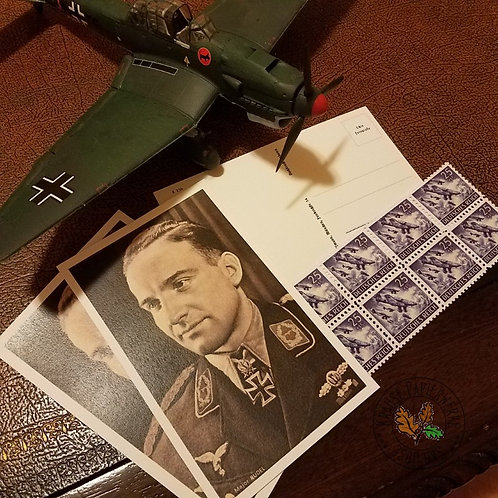 Hans-Ulrich Rudel - photo postcard with stamp (Stuka) - top ace dive bomber of the war (and all times)