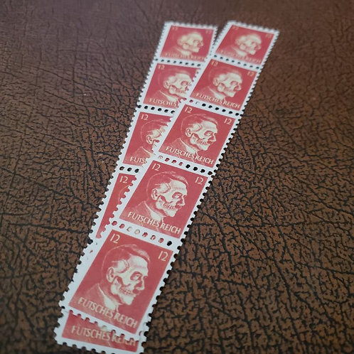 American anti-Nazi propaganda Hitler-Skull stamps made by OSS to spread dissent around Germany.