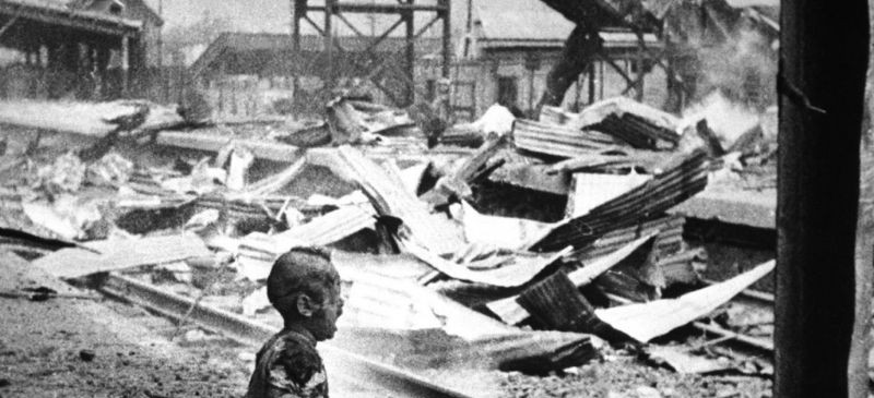 Chinese baby afer bombing