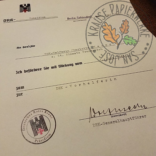 DRK Promotion Document / Certificate; DRK Beförderung Dokument / Urkunde