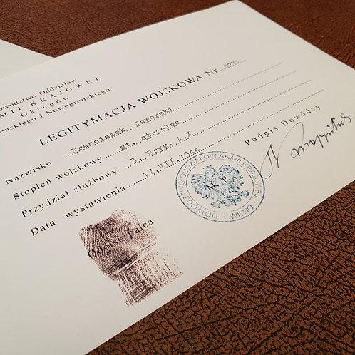 Filled out Polish Home Army ID (Legitymacja Armii Krajowej) from Krause Papierwerke