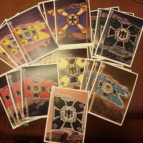 Die siegreichen Fahnen und Standarten der deutschen Wehrmacht - Banners of Wehrmacht - postcards, Postkarten