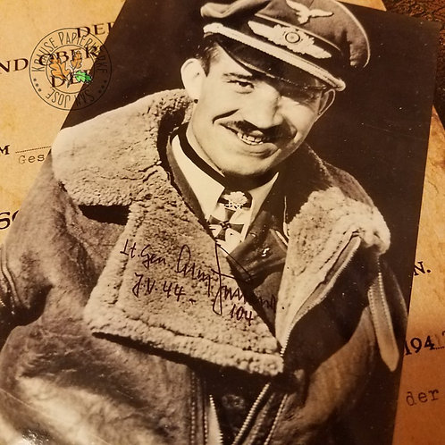 Adolf Galland -  signed / autographed black and white photo of German Luftwaffe fighter ace