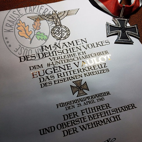 Premium reproduction of official award certificate for Knight's Cross of Iron Cross - with name gilded in gold!