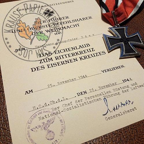 Knight's Cross Oak Leaves award citation for Georg-Peter Eder (Eichenlaub zum Ritterkreuz - besitzzeugnis)