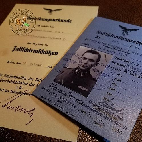 Fallschirmjäger ID (Fallschirmschützenschein) - SS FJ Bataillon 600