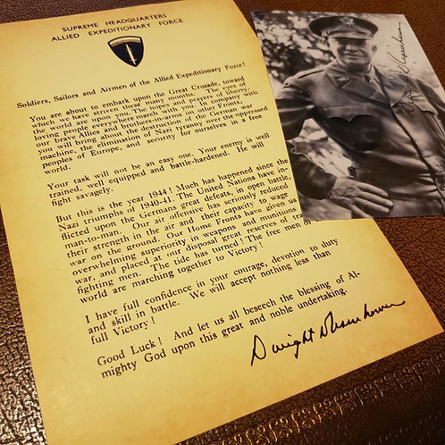 D-Day (Normandy Landing) Letter from General Dwight Eisenhower + signed picture (aged version)