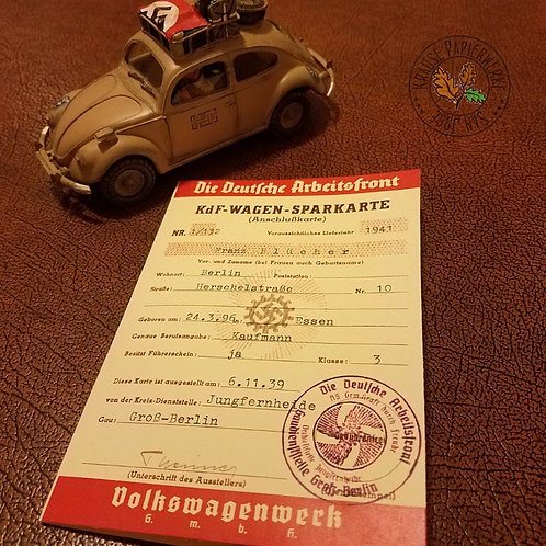 "Volkswagen Beetle savings booklet (KdF-Wagen Sparkarte) with stamps (Sparmarke). Kraft durch Freude ""People's Car""."