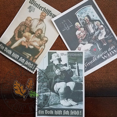 Reproduction Winterhilfswerk (WHW) Postcards (Postkarten) with stamps