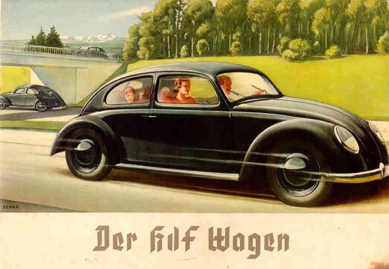 Graphical advertisement for the KdF-Wagen on autobahn