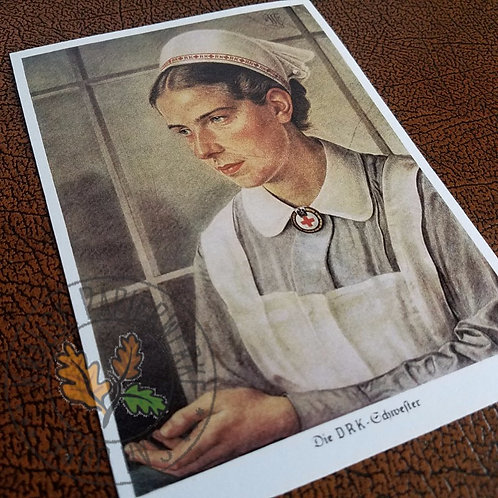 DRK Schwester Postkarte - DRK Nurse postcard with a stamp (high quality reproduction from Krause Papierwerke)