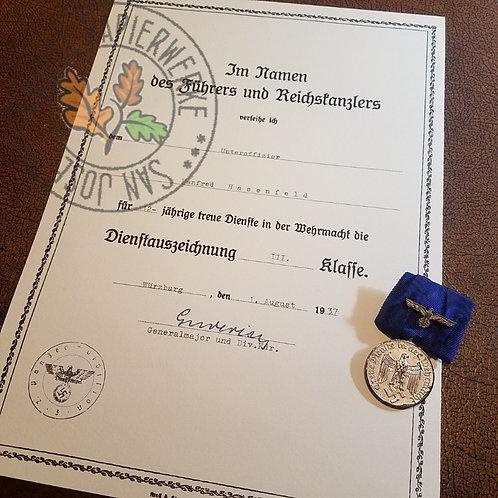 Wehrmacht Long Service Award certificate (Dienstauszeichnung Verleihungsurkunde) - filled out on a period typewriter