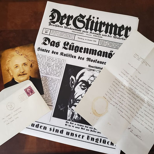 "Signed letter from Albert Einstein to Jesse Mendheim about Nazi anti-Semitic tabloid ""Der Stürmer"". Reproduction from Krause."