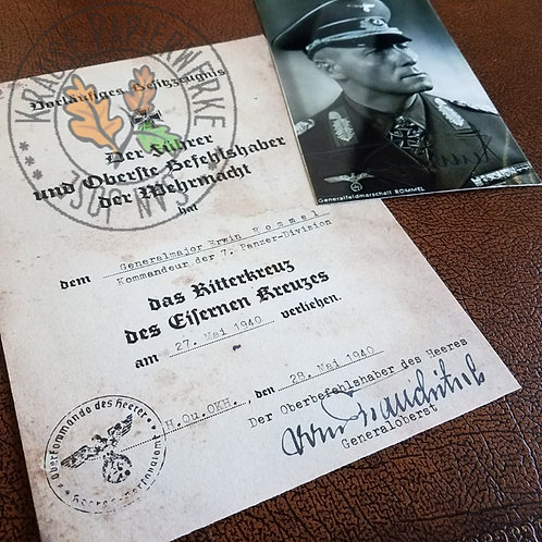 Erwin Rommel - preliminary certificate for Knight's Cross of Iron Cross. Aged paper, with signed b&w photograph.
