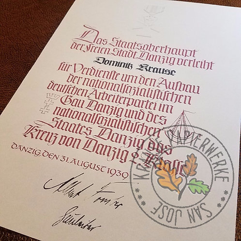 Customizable reproduction of award certificate/document for Danzig Cross (Danziger Kreuz) 2nd class from Krause Papierwerke!