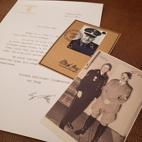 Ulrich Graf - Blood Order (Blutorden) Ausweis, signed photo with Adolf Hitler & birthday letter from the Führer. From Krause.