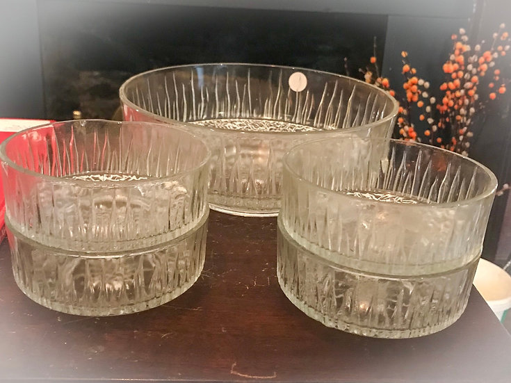 Vintage Cut GlassTriffle Bowl and 4 dishes
