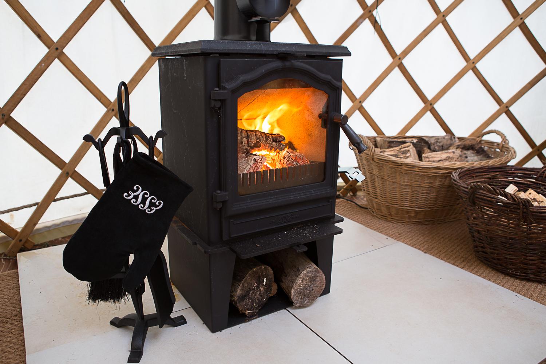 Wood burner inside yurt