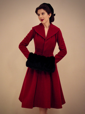 Princess coat in Red Wool with Faux Fur Muff