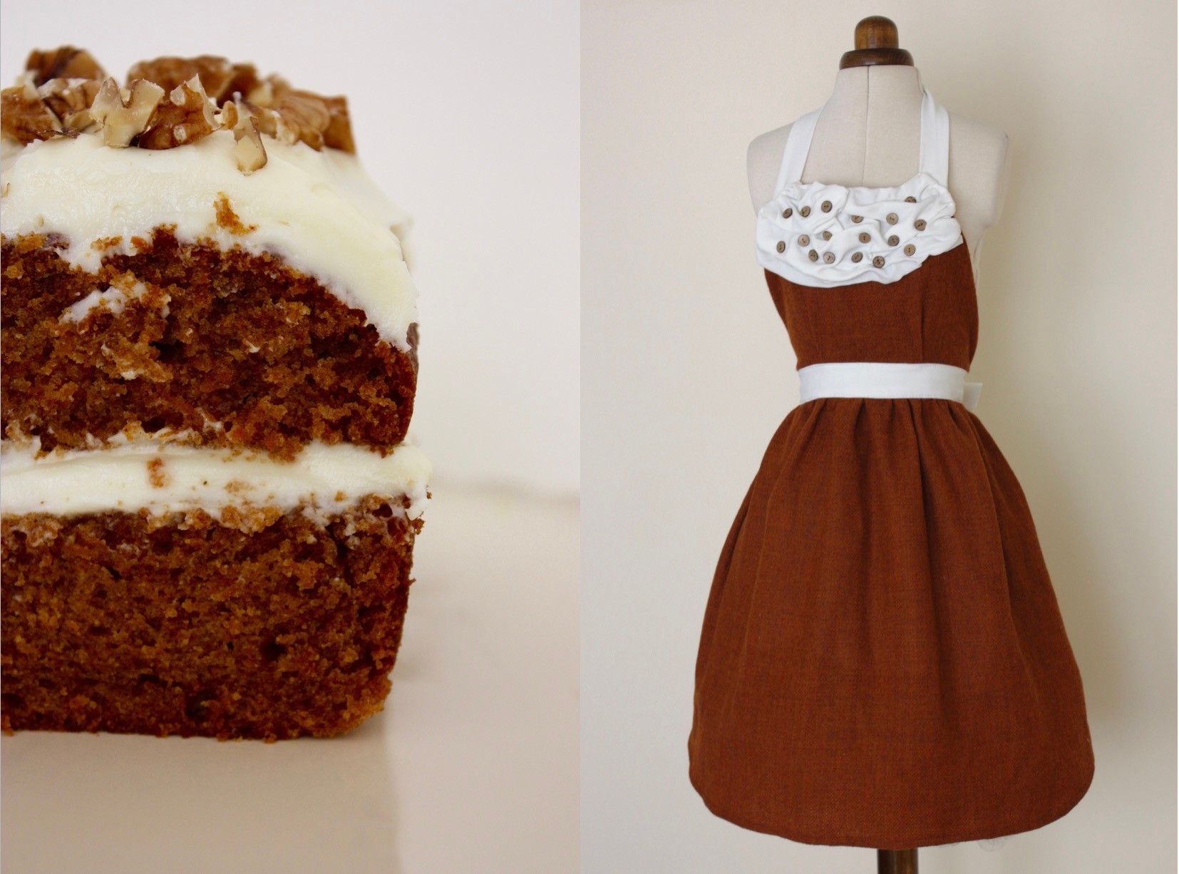 Frosted Tweedy Carrot Cake with Wooden Walnut Buttons