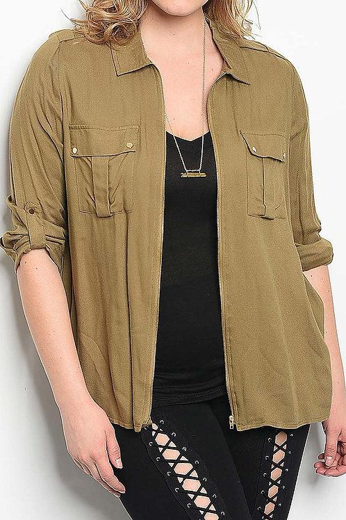 Plus Size Olive Shirt - Jacket