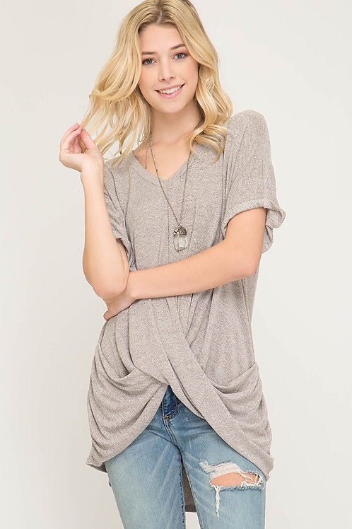 V-Neck Top With Cross Band
