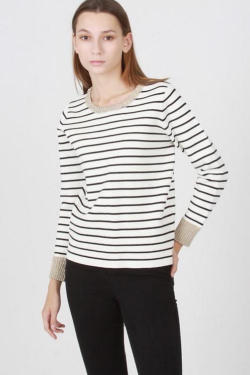 Striped Gold Trim Sweater