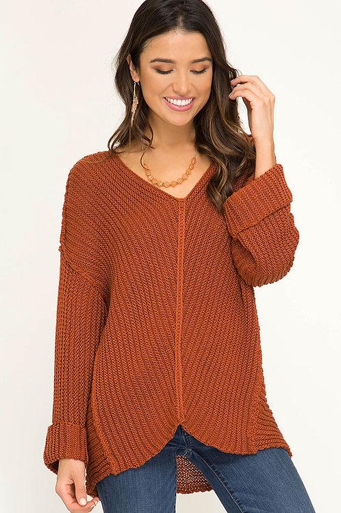 V-Neck Hi-Low Sweater