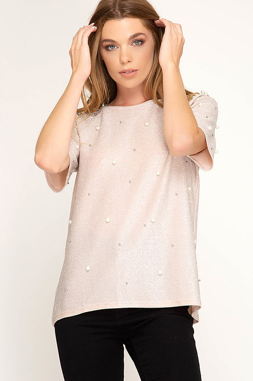 Lurex Top With Pearls