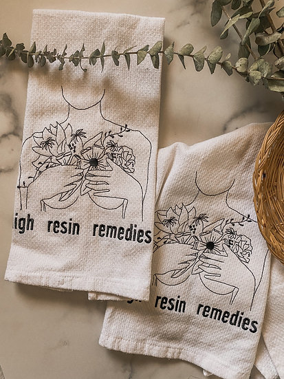 Organic cotton embroidered kitchen towel