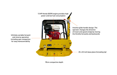 C-330 Commercial Honda GX390 Reversible Plate Compactor + Free Plate  Extensions