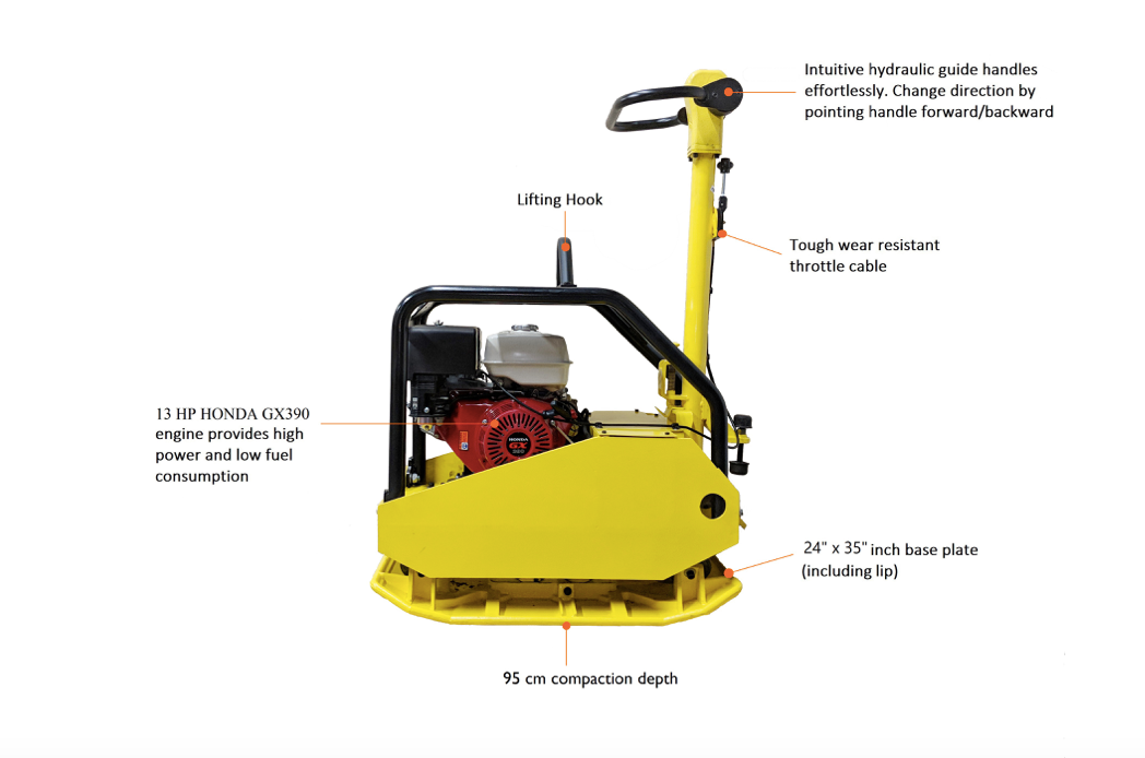 DUR500 Hydraulic Handle Commercial Honda GX390 Reversible Plate Compactor