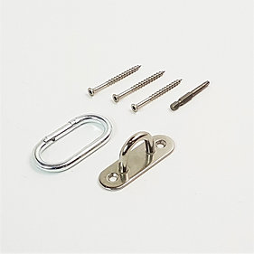 Stainless Steel Eye Pad Anchor Mount with Carabiner - 600 pound working weight