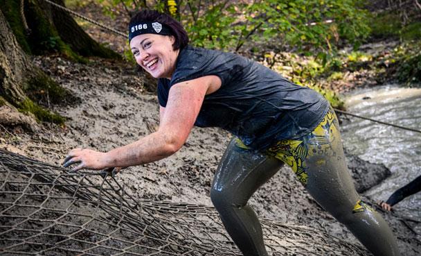 Muddy slope climb