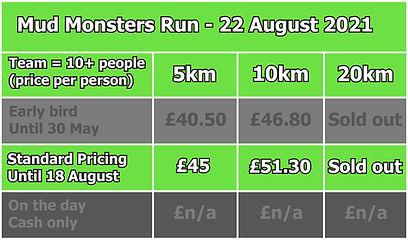Mud Monsters Run Team Pricing