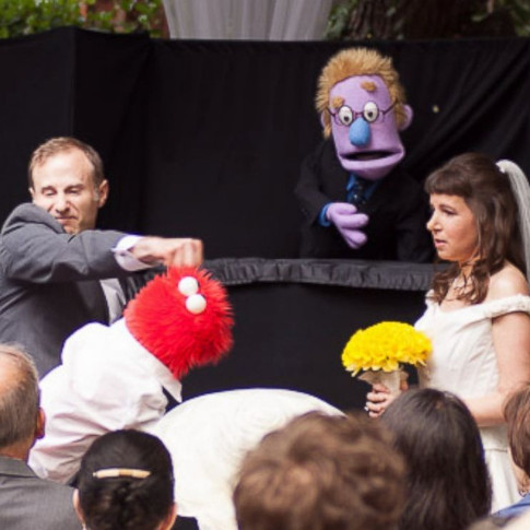 A Red Furry Puppet tries to steal the bride