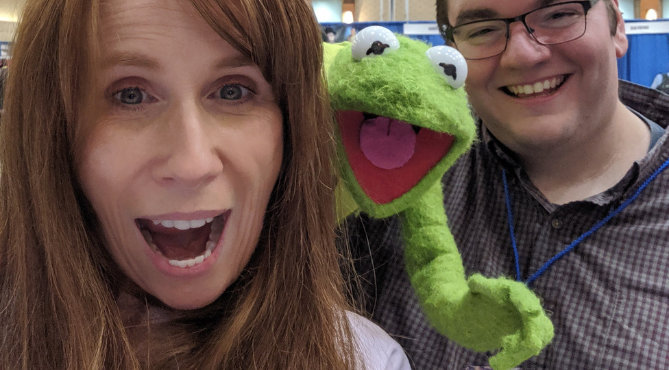 Kermit and Justin with Catherine Tate