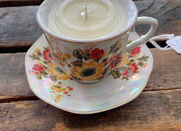 Vintage Floral Demitasse Cup Candle & Saucer